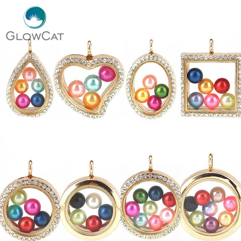 More Choice Gold Geometry Magnetic Living Memory Locket for Charms Floating Locket Pendants