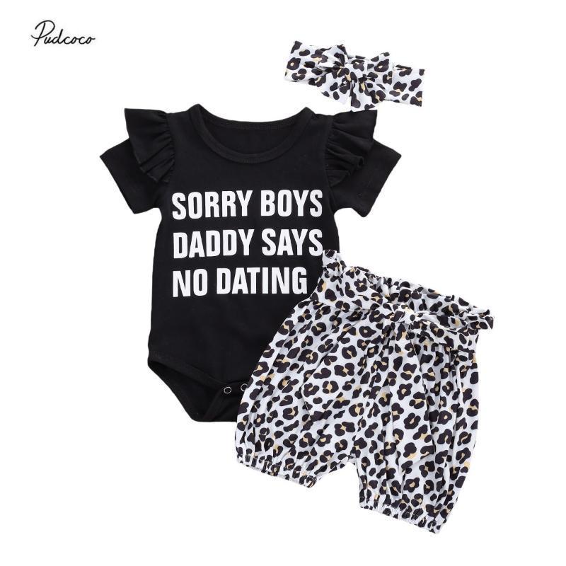 2020 O pai diz NO NAMORO criança roupa do bebê da menina 0-24M Carta de Verão Imprimir manga curta preta macacãozinho Tops + calça leopardo 3pcs