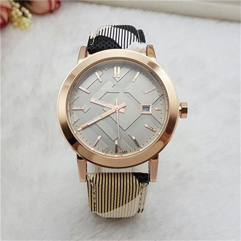 BU Top Luxury Men Women watch Dimensional Dial With Auto Date Leather Band Quartz Casual watches For ladies mens Valentine Gift
