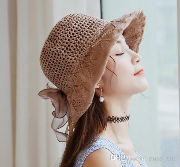 2019 summer Korean temperament lace bow handmade woven hollow art ribbon dome sunscreen visor big hat female fashion