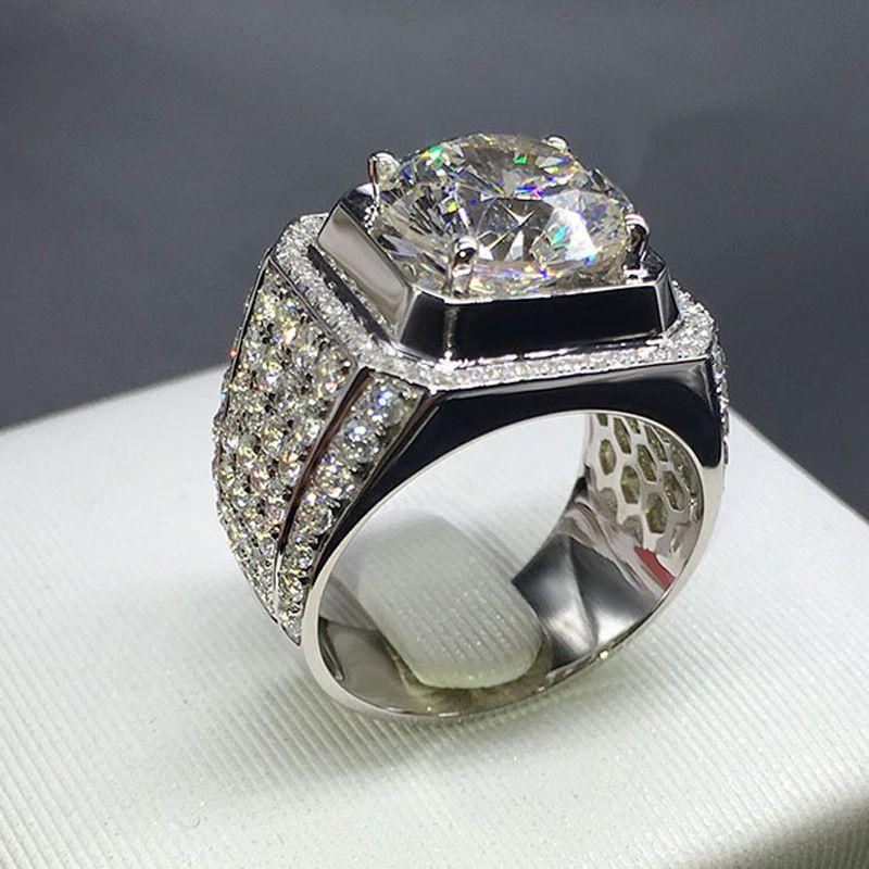 14k White Gold Zircon Luxury Hive Big Ring Trendy Man Diamond Gemstone Anillos Bague Rings Bizuteria White Diamond Anel Jewelry J190703