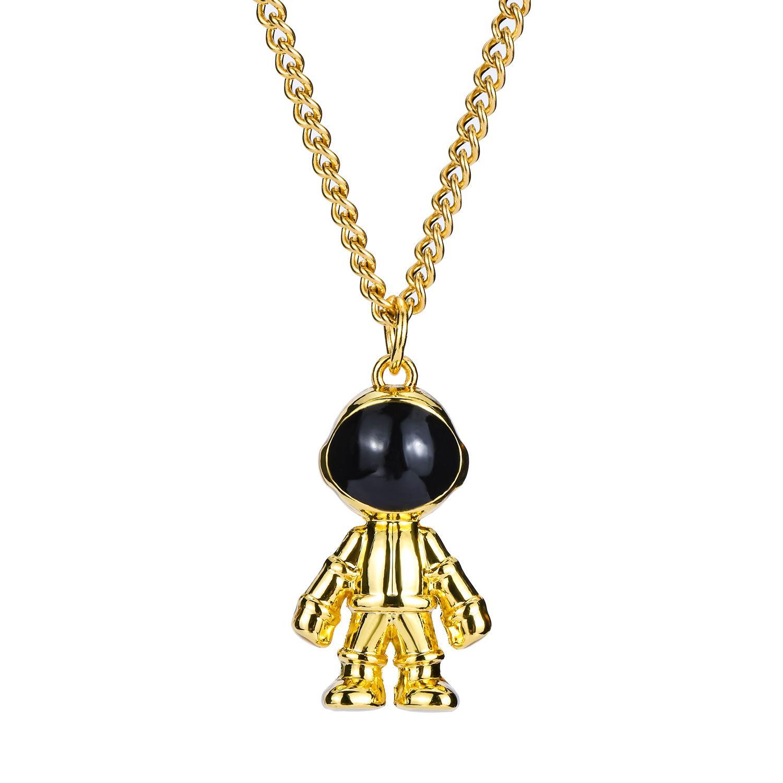 Ins Fashion Hip Hop Necklace Creative Astronaut Pendant Necklaces 316L Titanium Steel Cosmonaut Necklaces for Woman Man Gifts