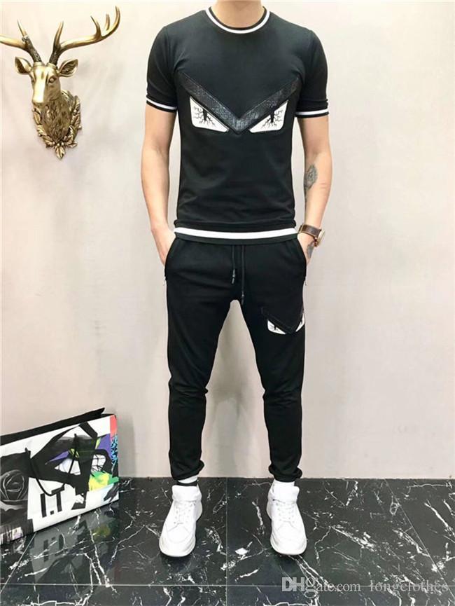 2020 Sommermens-Sets Kurz Meduse Hülsen-Druck Anzug Herren-Track Designer Trainingsanzüge 2 Stück Set T-Shirt + Shorts Männerkleidung dünnes Mens