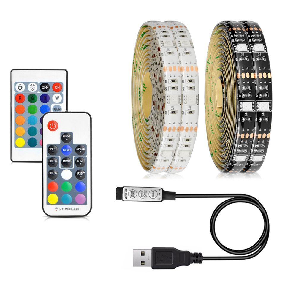 5050 DC 5V RGB LED Şerit Su geçirmez 30LED / M USB LED Işık Esnek neon Bant 1M 2M 3M 4M 5M Tv Arka Plan İçin Uzaktan eklemek Şeritler