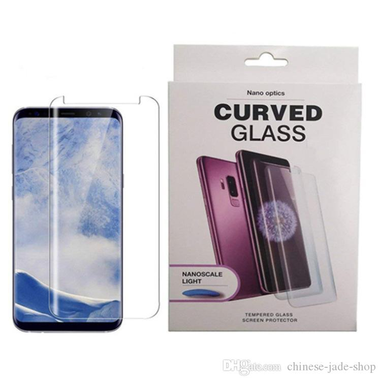 Tela apoio Fingerprint Unlock UV cola de vidro temperado Protector for Samsung Galaxy S10 S10 PLUS S10E UV cola líquida Em 50pcs caixa / lot