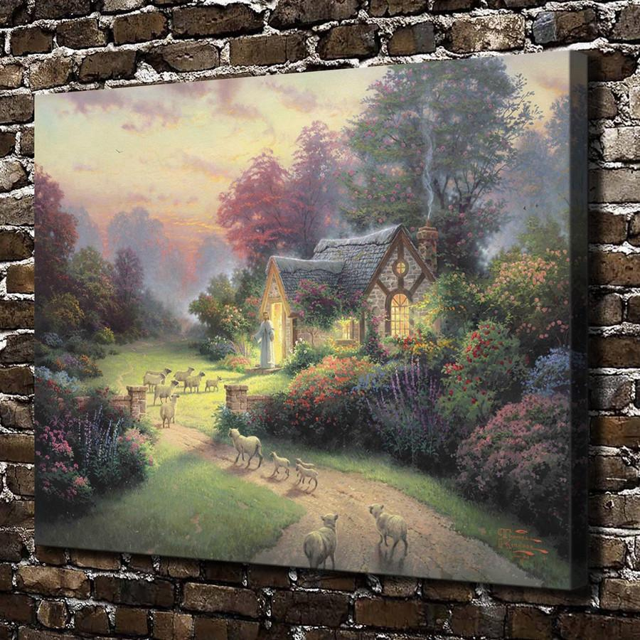 Thomas Kinkade,The Good Shepherd Cottage,1 Pieces Canvas Prints Wall Art Oil Painting Home Decor (Unframed/Framed) 24x32