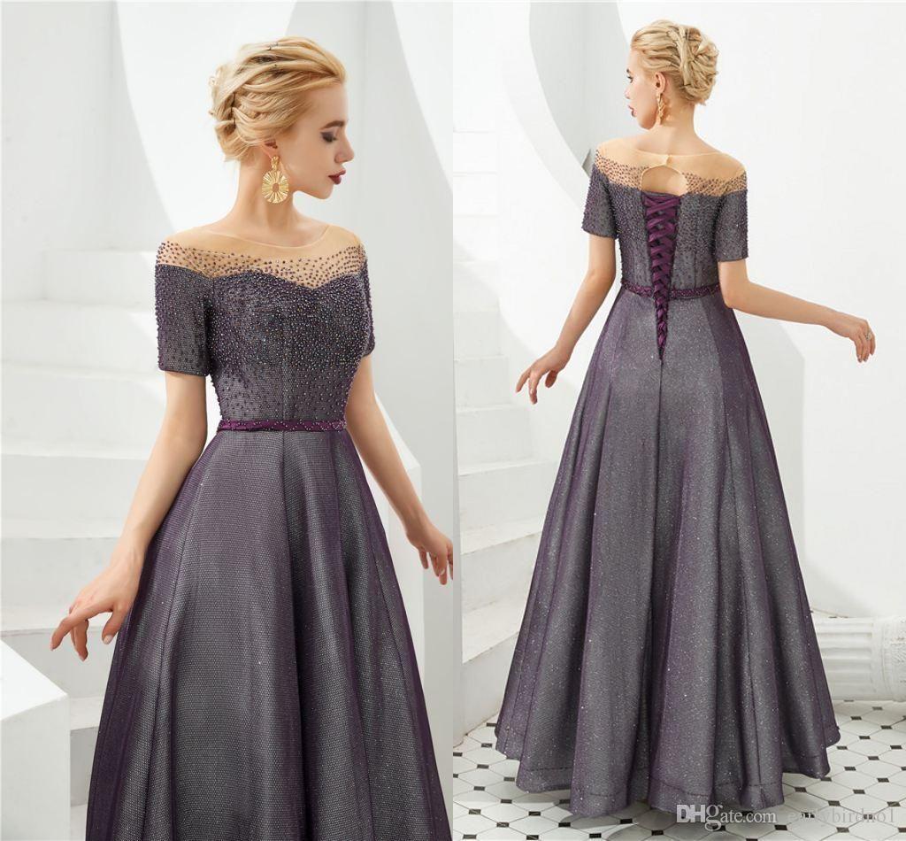 Vintaege Grape cristal frisado Prom Dresses 100% real Pictures Corset Voltar Vestido de Noite de luxo frisado formal do partido Vestidos Pageant 2020