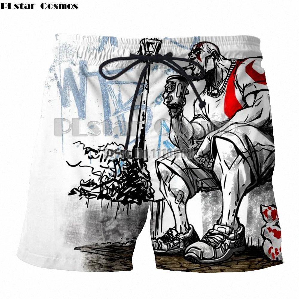 Hipster Verão Quick Dry Praia do Cosmos Homens PLstar Board Boxers Trunks 2018 Deus 3D de Guerra Impresso Boardshorts Lqee #