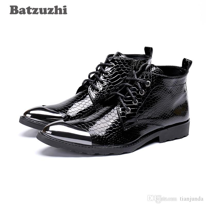Batzuzhi Stivali fatti a mano da uomo Punta punta in metallo nero Stivaletti in pelle con lacci Western Fashion Botas Hombre Cool, Big Sizes 46