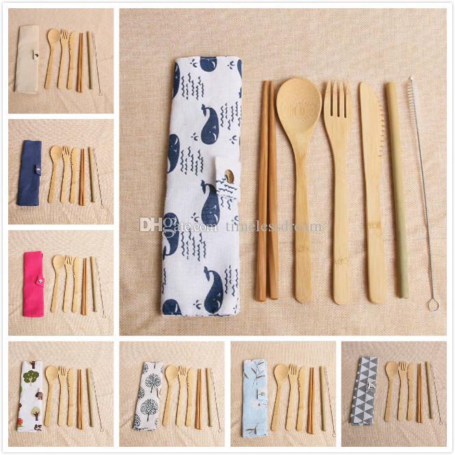 7 шт. / компл. экологически чистые бамбуковые столовые приборы Набор столовых приборов 20 стиль портативный бамбуковый соломенный набор посуды с тканевой сумкой ножи Вилка Ложка палочки для еды