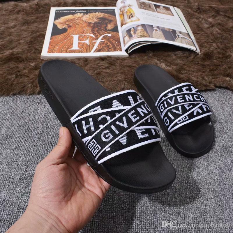 Melhores Homens Mulheres Sandálias Sapatos De Grife De Luxo Deslizamento Moda Verão Largo Plano Sandálias Chinelo Flip Flop Com Caixa 5 estilo Tamanho 35-45