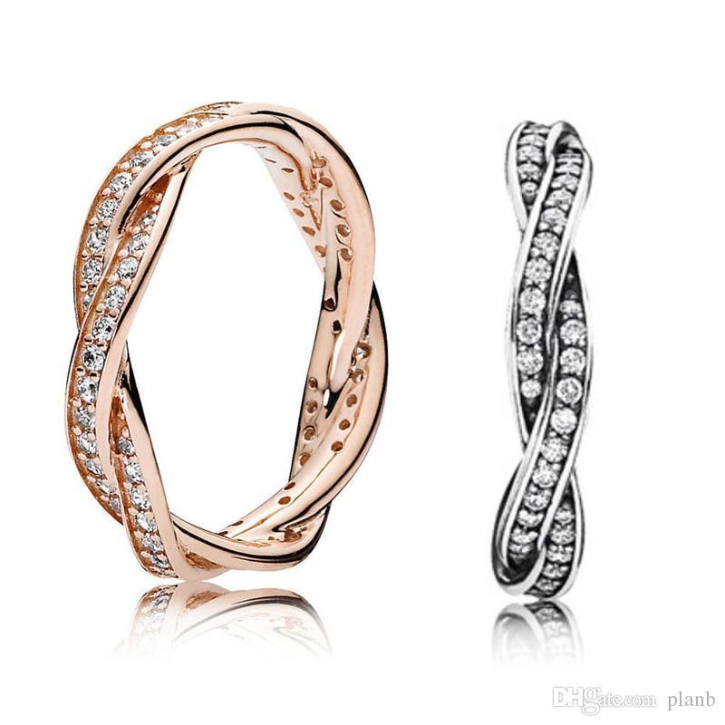 925 Sterling Silver Twist Of Fate impilabile Ring Set scatola originale per Pandora donne nozze di diamante della CZ Oro rosa 18 carati anello