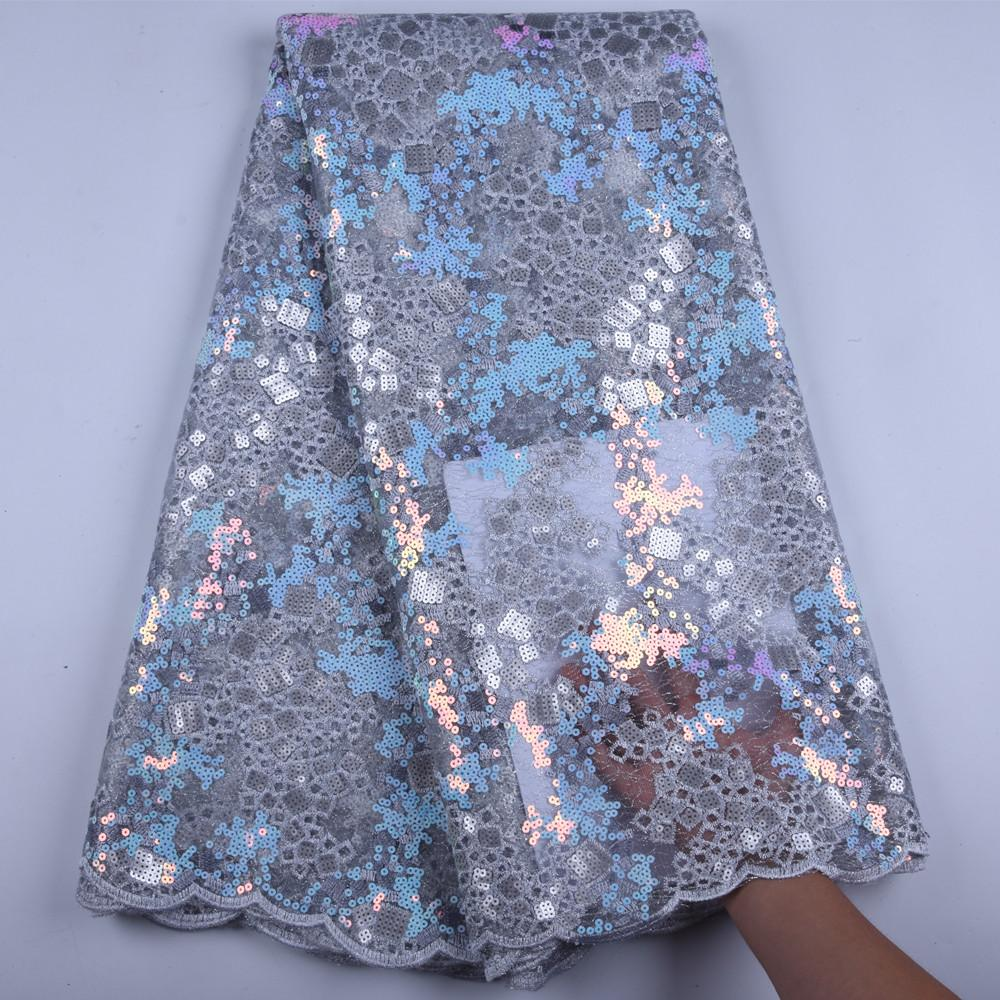 African Handcut Organza Lace Fabric With Sequins Embroidery Tulle Voile Lace Fabric Hot Sale Organza Lace With Sequins