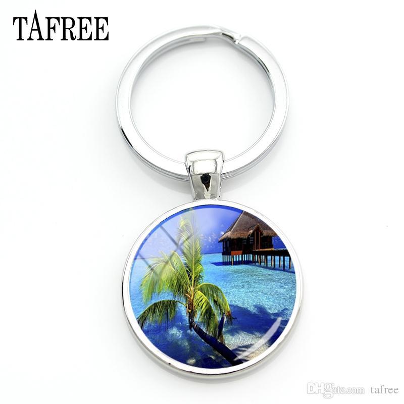 TAFREE Beautiful Maldives Scenery Keychain sea Landscape Charms Key Chain beach coconut tree relax gift Tourist Jewelry FA730