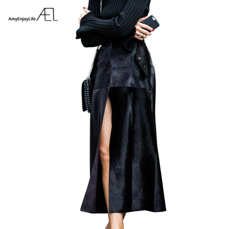 AEL Siyah Kadife Yarık Etek Yılbaşı Bahar Kadınlar Saia Midi Moda Zarif Kadın Giyim Blogger Tarzı Yüksek Bel Y200326