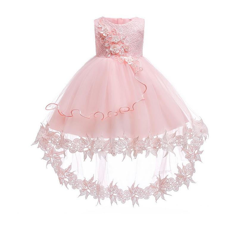 Baby Girls Floral Dress Short Puff Sleeves Skirt Non-toxic Princess Clothes