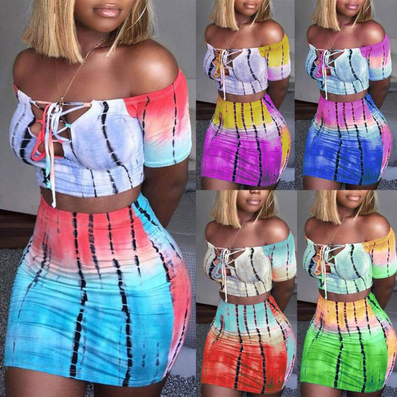 Fashion Sexy Sneath Women Crop Top Short Bodycon Night Cocktail Party Two Piece Set Dress Cool Skinny Dress
