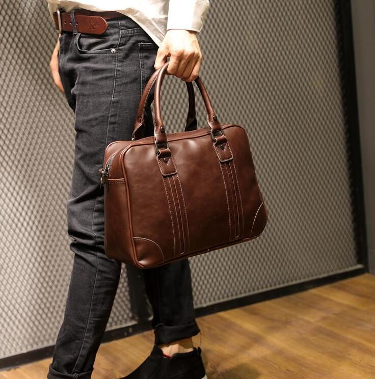Retro Crazy Horse Leather Crossbody handbag business mens portable briefcase multifunctional computer bag Korean men leather shoulder bag