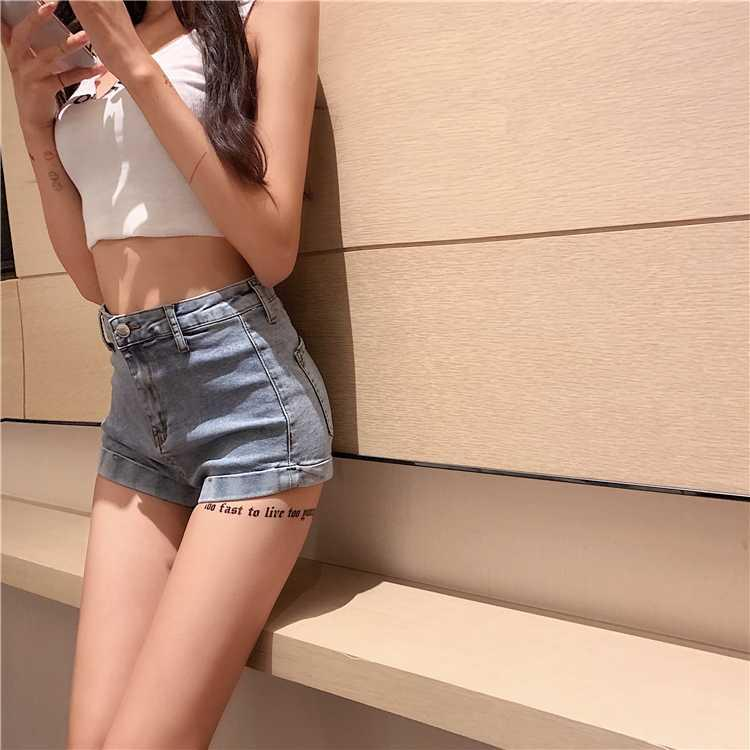 Hi Girl Spring Summer Hot Denim Shorts Empire Boho Chic Short Jeans Solid Black Blue Slit Bodycon Summer Sexy Hot Shorts Female