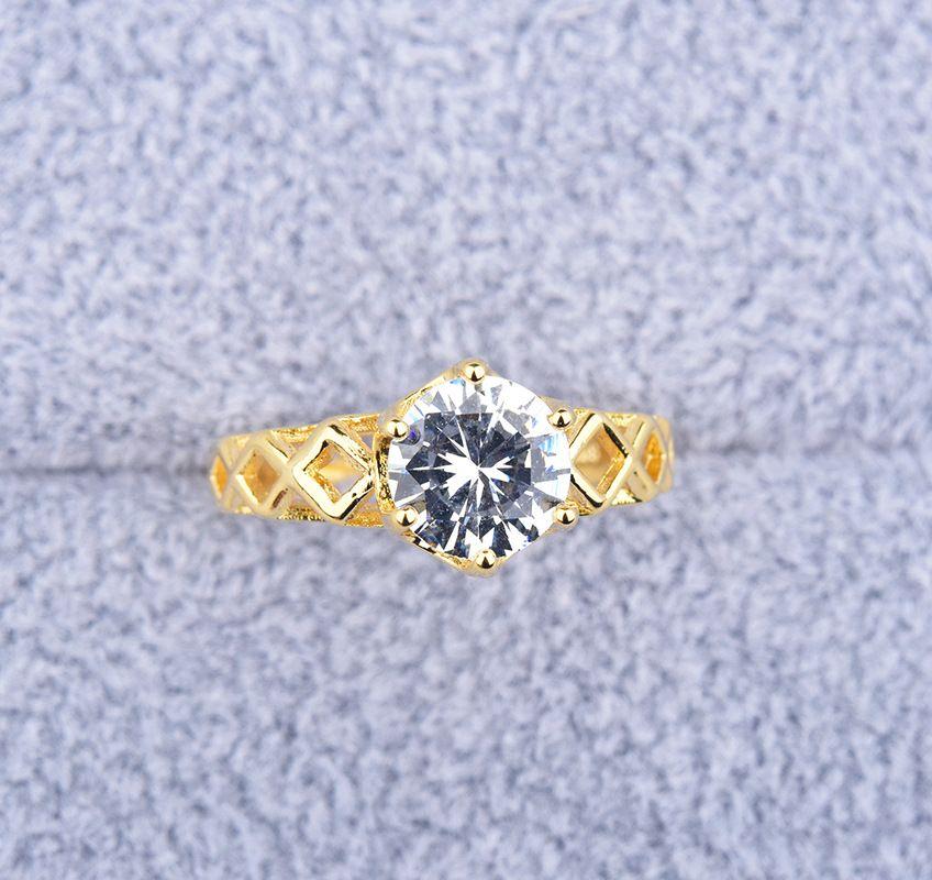 Simple 1 Round CZ couleur or anneau doigt creux élégant anneaux de fiançailles fête de mariage bijoux de mode Cute Girls Anel gros