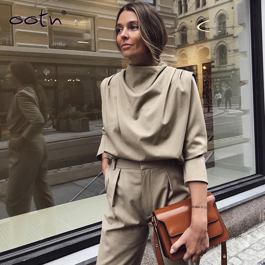 Haki Dokuma dökümlü Yaka Bluz Katı Ofis Gömlek Bayan Üst Streetwear 2020 İlkbahar Uzun Kollu Bayan Yeni Casual MX200407 Tops