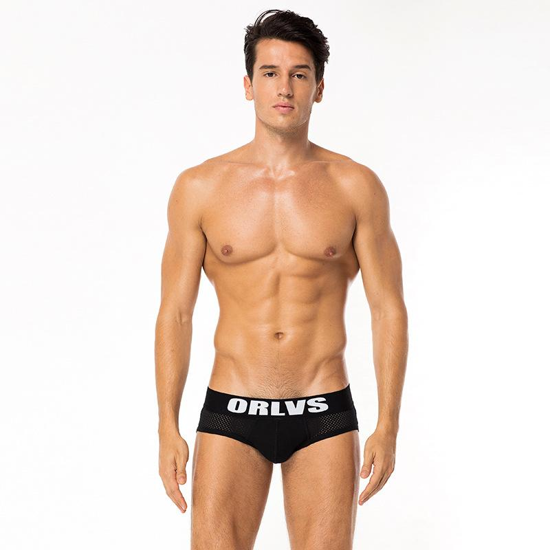 Famous brand black and white color mesh panties pure cotton men's sexy briefs with packing bags