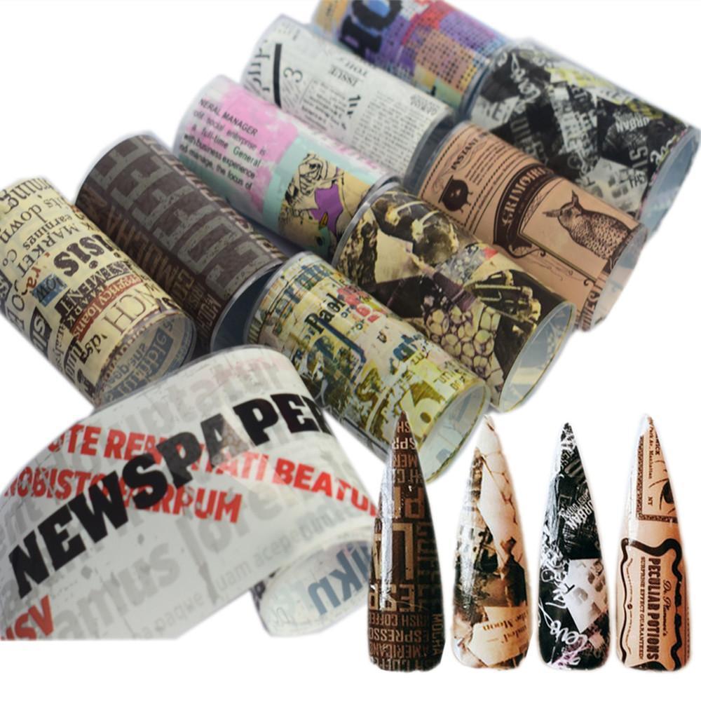 Prego Foil Transferência Set Decal para Nails Etiqueta 4 * 100 centímetros Flor jornal Notícias Mixed Nail Art Decoração Adhesive Wraps 8/10 / 16pcs