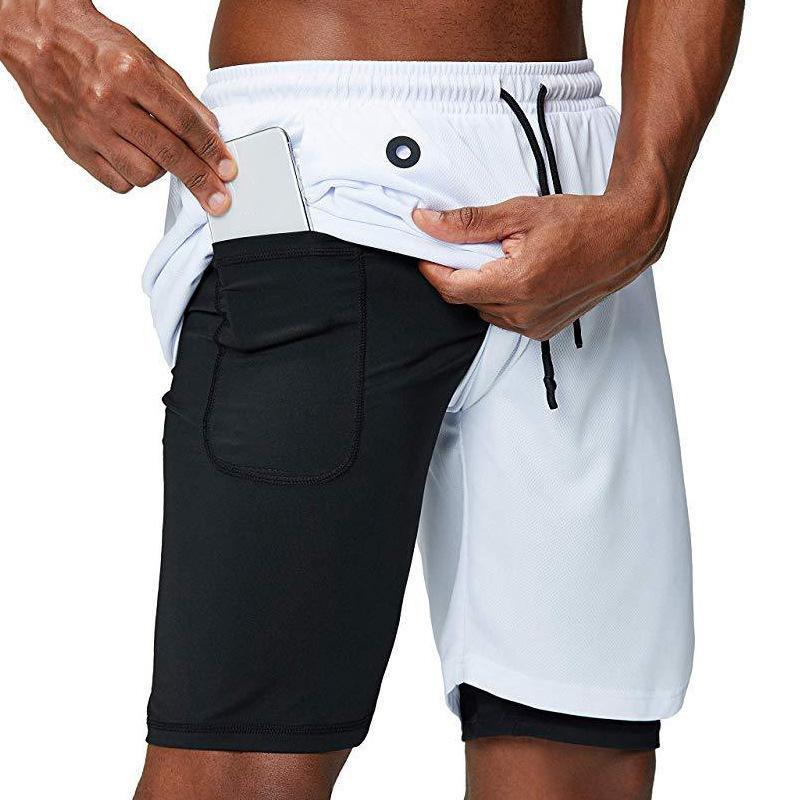 2020 Verano Pantalones cortos para correr 2 en 1 Ligera doble capa Pantalones cortos de entrenamiento deportivo Quick Fitness Hombres seco con bolsillos