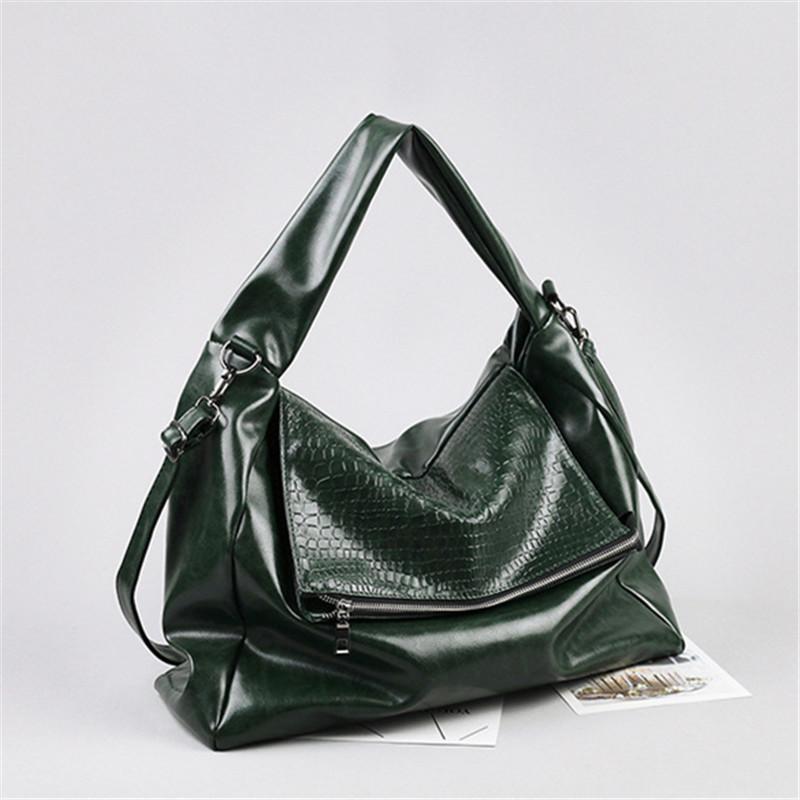 Borsa in pelle Big New Black per le donne gli uomini verde unisex morbida Hobo borsa di grande capienza borsa casuale catena un sacchetto di spalla