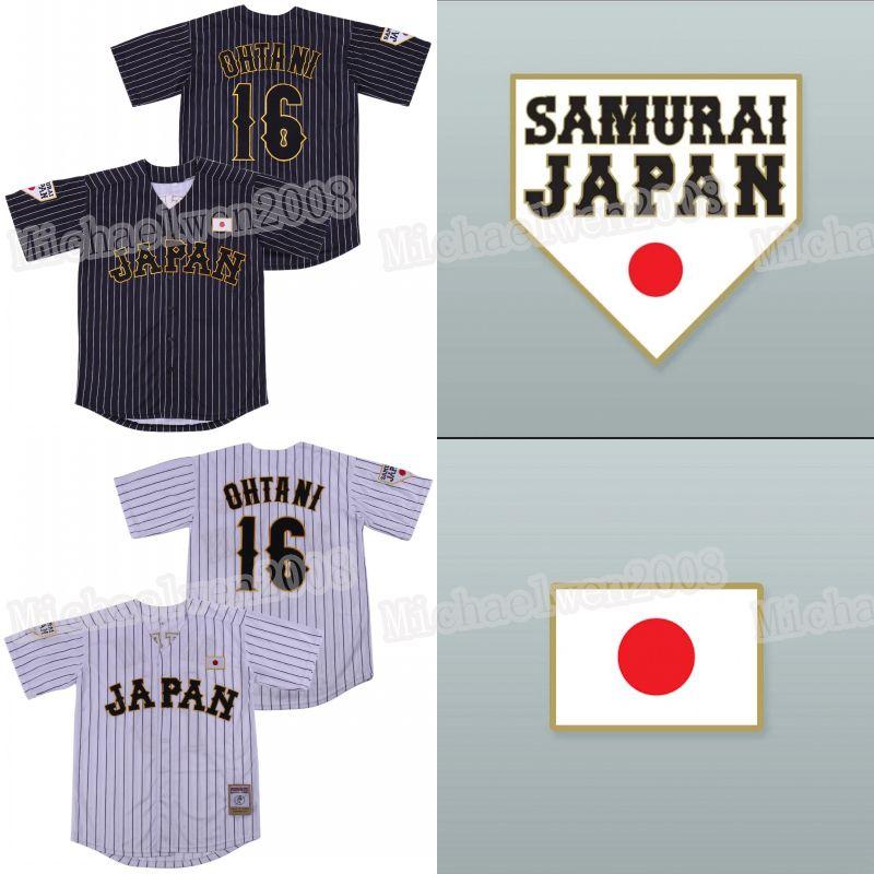 Japón Samurai 16 Shohei Ohtani Jersey Blanco Blanco Raya Pinestriped Movie Beasball Jerseys 100% STITE HOMBRES PARA MUJERES MUJERES MUJERES CustomWHolesale