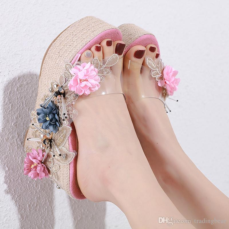 Handmade Flower Decorated Straw Woven Platform Wedges 12cm Slip On Shoes Slides Women Designer Sandals Size 34 To 39 tradingbear