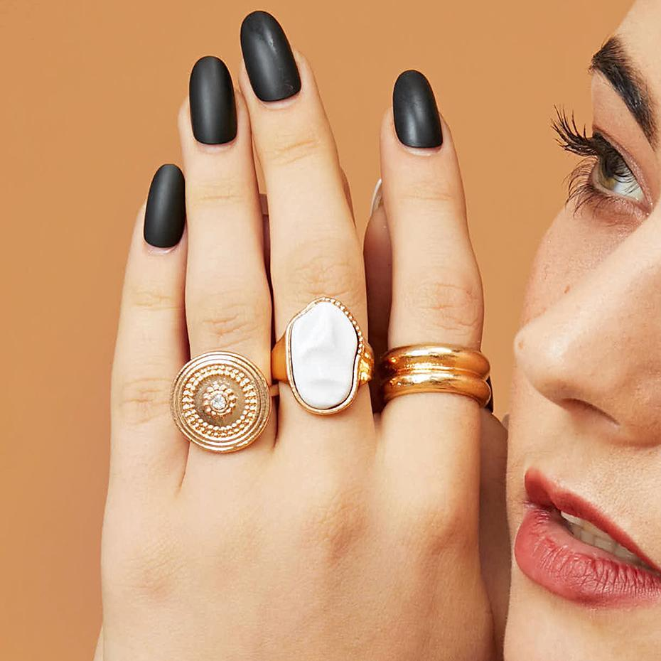 Gold plaqué 3pcs / Set Punk Vintage Géométrique Rond Ton Perle Bagues en métal Cristal Géométrique Doigt Big Anneaux Pour Femmes Bijoux