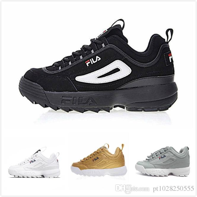 Black WhiteFila Disruptors 2 Sawtooth Thick Bottom Mens Womens Fashion Triple Black White Gold Grey Pink Training Shoes US 5.5 11 Ladies Shoes