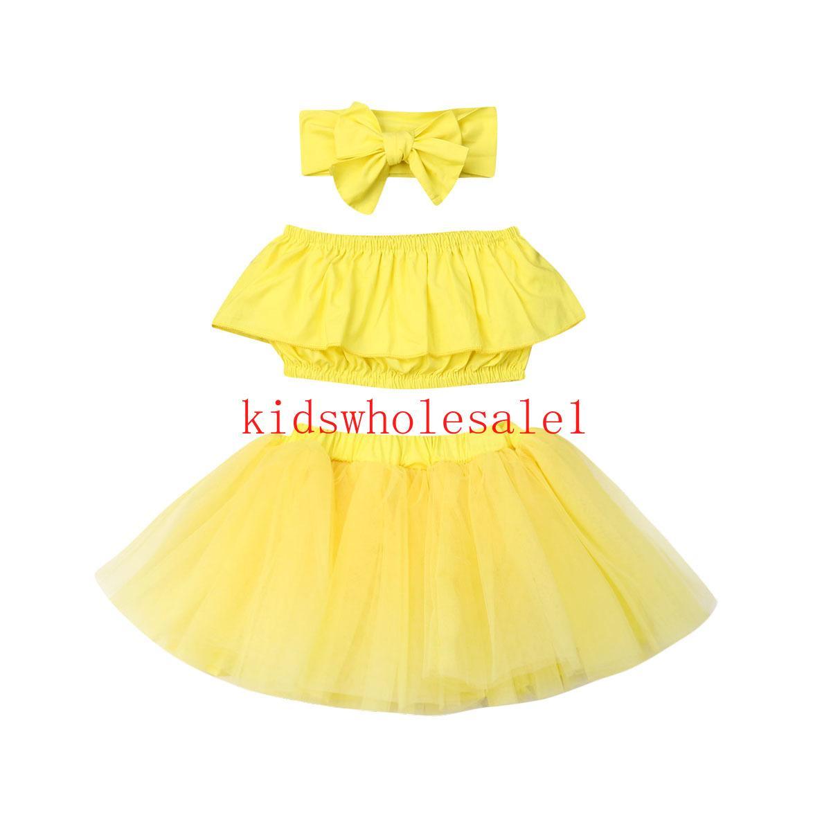 3PCS Bebek Çocuk Kız Bebek Giyim Giyim Sarı Kolsuz Yelek + Tutu Etek + Kafa Set Tops ayarlar