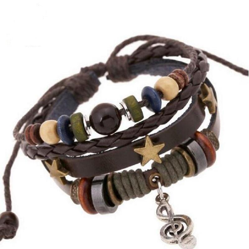 Wholesale Bronze Star Rivets Cowhide Women Bracelets Charm Musical Notes Bracelet Pendants Leather Braided Snake Chain Bracelet