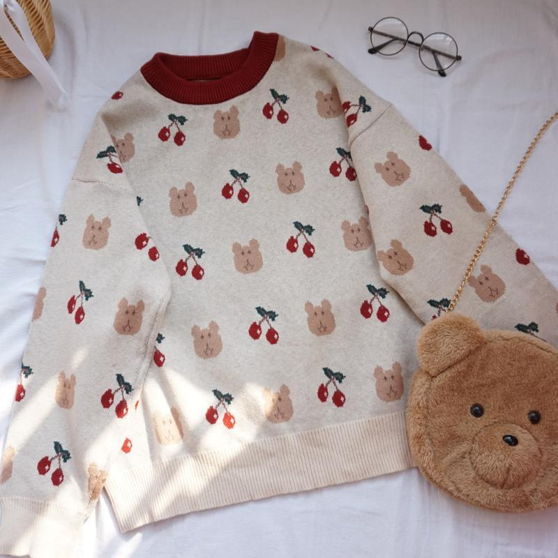 women Soft sister Japanese Childlike lovely Cherry Little bear Loose Sweater student College style Shin Harajuku Loose Beautiful