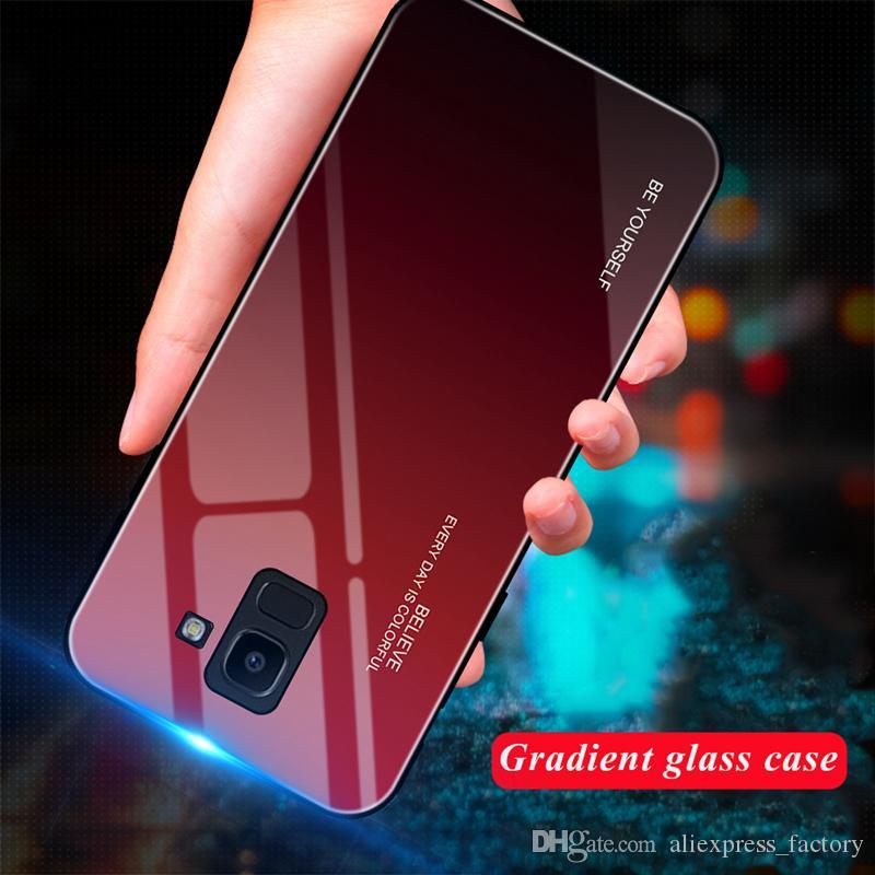 Градиент Закаленное стекло крышки Мягкие резиновые края чехол для Samsung Galaxy Note 10 S10 E 5G A10E A10S A20S M30S M10 M20 A10 A20 A40 A50 A60 A70