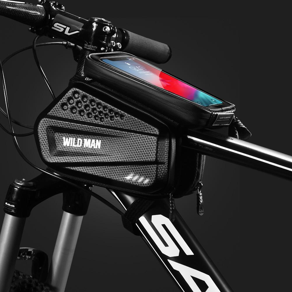 Wild Man biciclette sacchetto del telefono MTB bici della strada frontale superiore Struttura del tubo di tocco Sn guscio duro di Borsa Double Side Pannier Ciclette