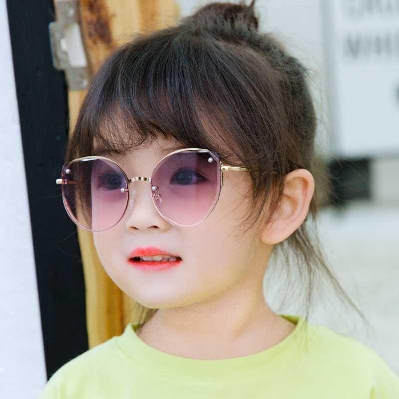 Mädchen Sonnenbrille 2020 nagelneue Randlos Nieten Kind Sonnegläser große Feld-UV400 Jahrgang Kinder eyewear Strand-Sonnengläser N519