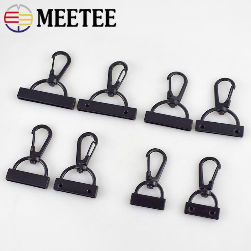 Meetee 20/26/30/38mm Bag Webbing Lobster Clip Hooks Black Carabiner Buckles Screw DIY Handmade Bag Clothing Decor Accessories