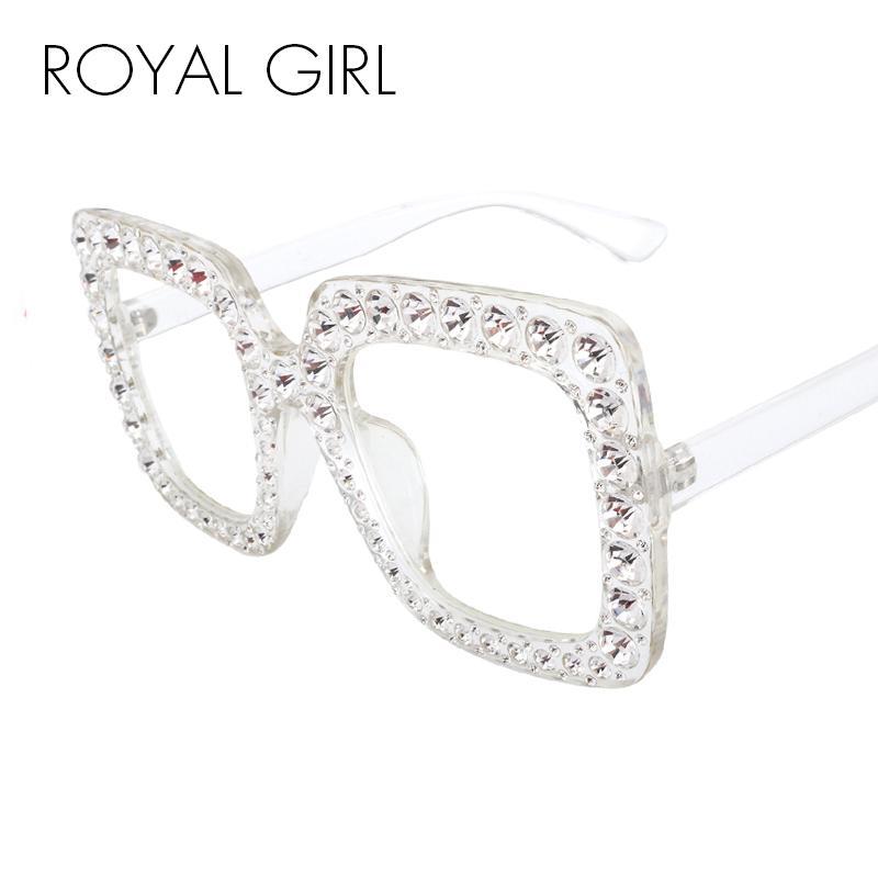 ROYAL GIRL площади Rhinestone солнцезащитные очки Женщины Марка Крупногабаритные Кристалл Солнцезащитные очки 2018 Clear Lens Оттенки óculos ss302