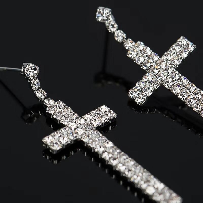 Fashion-out cross dangle earrings for women luxury designer bling diamond christian dangling earrings bridal wedding engagement jewelry gift