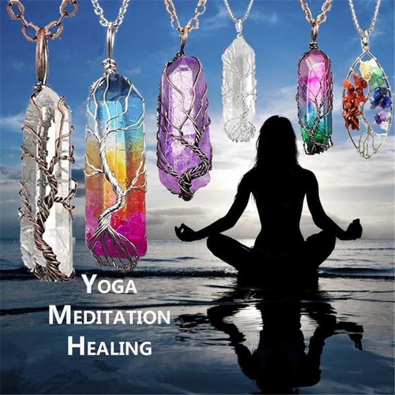 Prisma hexagonal Columna de los colgantes del árbol de la vida de piedra natural del cristal de cuarzo blanco del Yoga joyería meditación Healing Punto Péndulo encanto