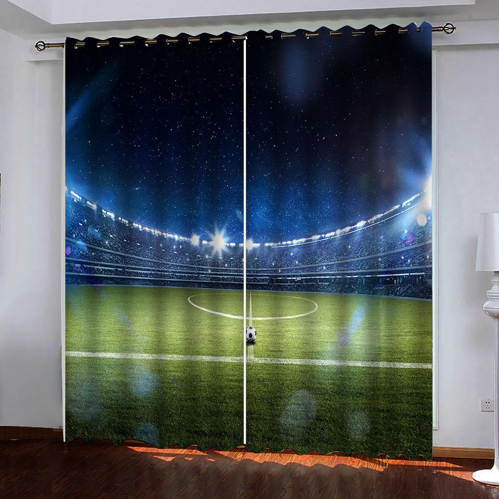 Costumbre moderna Diez mil estadio de fútbol 3D apagón ventana cortinas para estar decoración de la habitación Habitación Hotel cortina cubre