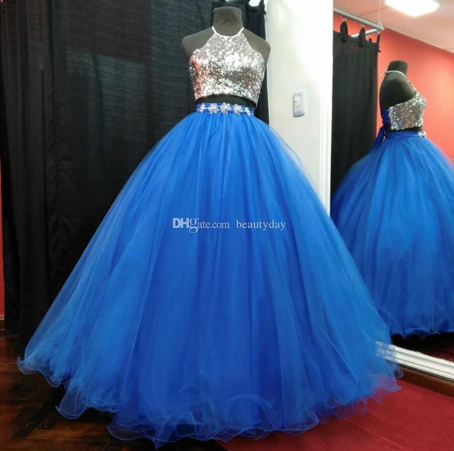 Robe royale Blue Quinceanera Robes Robe Boule 2020 Deux Morceaux Doux 16 Robes de bal Perles Perles Debutante Robes Debutante Plus Taille Vestidos de 15