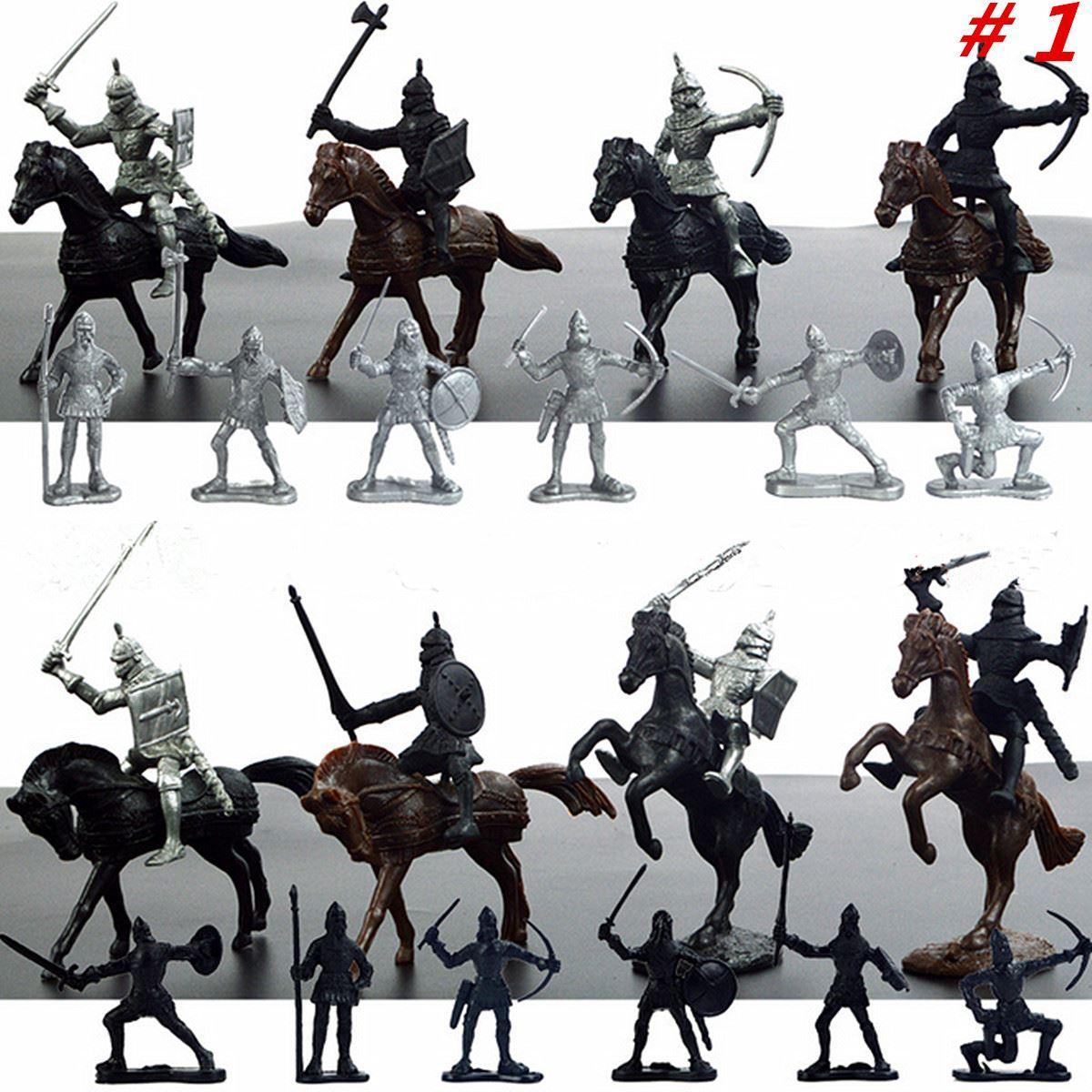 28pcs/set Knights Warrior Horses Medieval Toy Soldiers Figures Playset Mini Model Toys Gift Decor For Children Adult