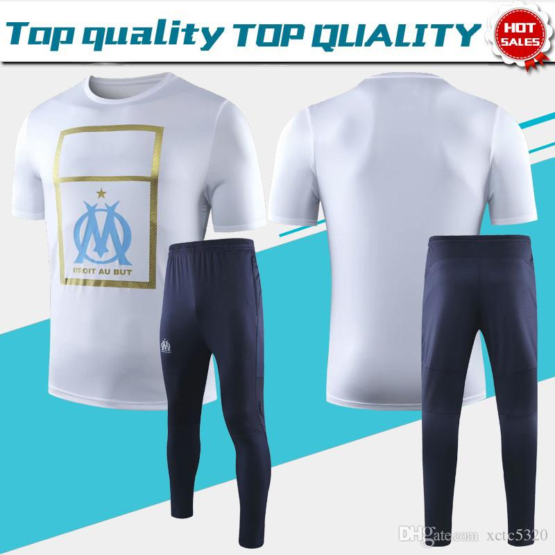 T-shirt Suit 2019 Marseille Short Sleeves White soccer jerseys 19/20 Sportswear T-shirt Football Uniforms Men Soccer Shirts On Sale