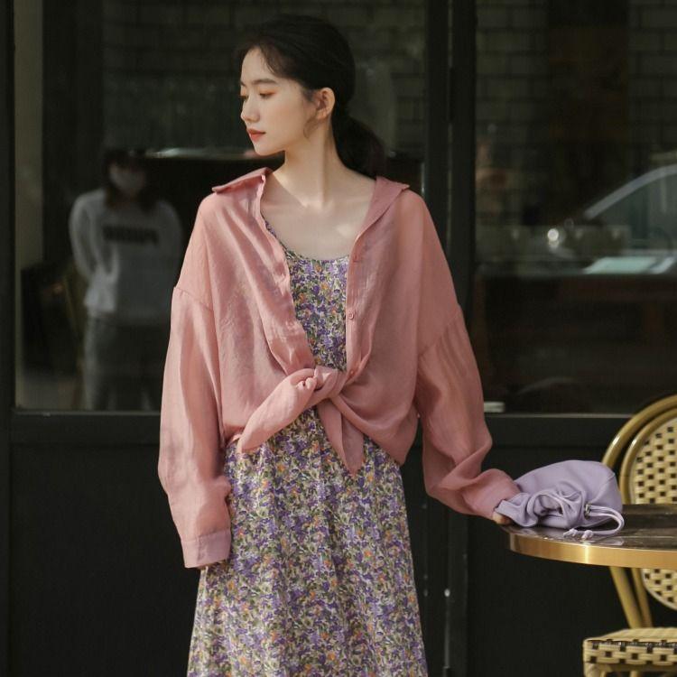 Primavera de Corea / Verano ins pequeña sal fresca dulce puede semidulce larga micro-a través del libro camisa de manga larga chica de bronceado