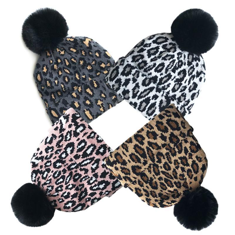 Bebé leopardo sombrero de invierno para niñas Pompon punto Hat niños para Niños Sombreros elástico caliente del bebé Beanie Cap 1-5Y