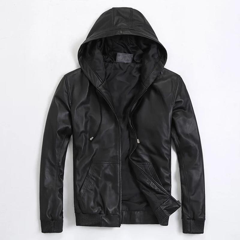 Yeni Bahar Gerçek Deri Ceket Kapşonlu Erkekler Lüks Kısa Stil Deri Ceket Erkek Gerçek Sheepskin Ceket Plus Size M-5XL